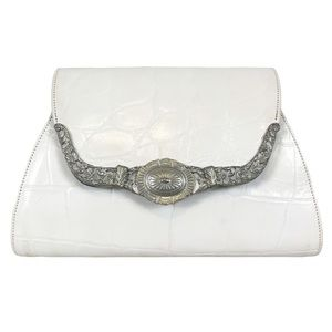 VINTAGE White Leather Crocodile Western Buckle Bag